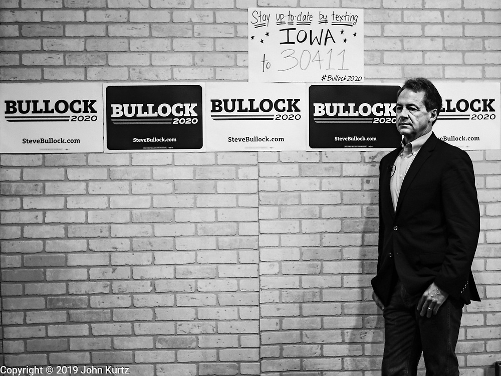 17 MAY 2019 - NEWTON, IOWA:  Governor STEVE BULLOCK (D-MT) talks to Iowa voters during a campaign event in Newton. Gov. Bullock joined a crowded field of Democrats vying to be the party's Presidential nominee in 2020. Iowa traditionally hosts the the first election event of the presidential election cycle. The Iowa Caucuses will be on Feb. 3, 2020.                       PHOTO BY JACK KURTZ
