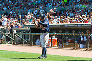 Minnesota Twins shortstop Brian Dozier celebrates after scoring against the Cleveland Indians at Target Field in Minneapolis, Minnesota on July 29, 2012.  The Twins defeated the Indians 5 to 1.  © 2012 Ben Krause