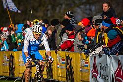Enrico FRANZOI (46,ITA) 1st lap at Men UCI CX World Championships - Hoogerheide, The Netherlands - 2nd February 2014 - Photo by Pim Nijland / Peloton Photos