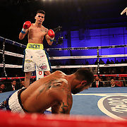 Freddy Ortiz knocks out Louis Rios with an uppercut during a Telemundo boxing match at Osceola Heritage Park on Friday, July 20, 2018 in Kissimmee, Florida.  (Alex Menendez via AP)