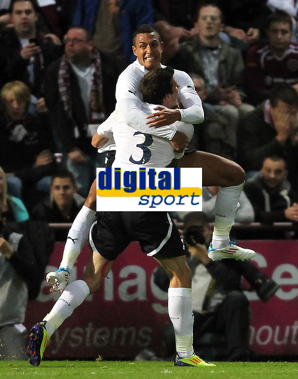 Football - Europa League - Hearts vs Tottenham Hotspur<br /> <br /> Ian MacNicol/Colorsport<br /> <br /> Jake Livermore celebrates his goal during the Heart of Midlothian vs Tottenham Hotspur Europa League qualification match at Tynecastle Stadium, Edinburgh.<br /> <br /> 18th August 2011