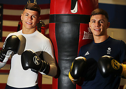 Boxing Twins Pat (left) and Luke McCormack pose for a photo at Birtley boxing club, Gateshead.
