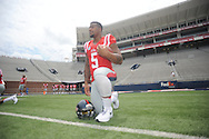 Ole Miss' Robert Nkemdiche (5) poses during the team's media day, in Oxford, Miss. on Friday, August 1, 2014. Mississippi begins practice Saturday morning and opens the season against Boise State in Atlanta on August 28, 2014. (AP Photo/Oxford Eagle, Bruce Newman)