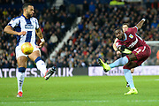 Aston Villa midfielder (on loan from Everton) Yannick Bolasie (11) takes a shot at goal during the EFL Sky Bet Championship match between West Bromwich Albion and Aston Villa at The Hawthorns, West Bromwich, England on 7 December 2018.