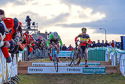 Sven Nys (BEL) and Klaas Vantornout (BEL), Men Elite, Cyclo-cross Superprestige #8 Middelkerke, Belgium, 14 February 2015, Photo by Paul Burgoine / PelotonPhotos.com
