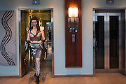 UNITED KINGDOM, London: 24 October 2015. <br /> Comic Con Feature.<br /> A cosplay fan makes her way from her hotel to the MCM London Comic Con at the ExCel Arena in east London. <br /> Photo: Rick Findler / Story Picture Agency