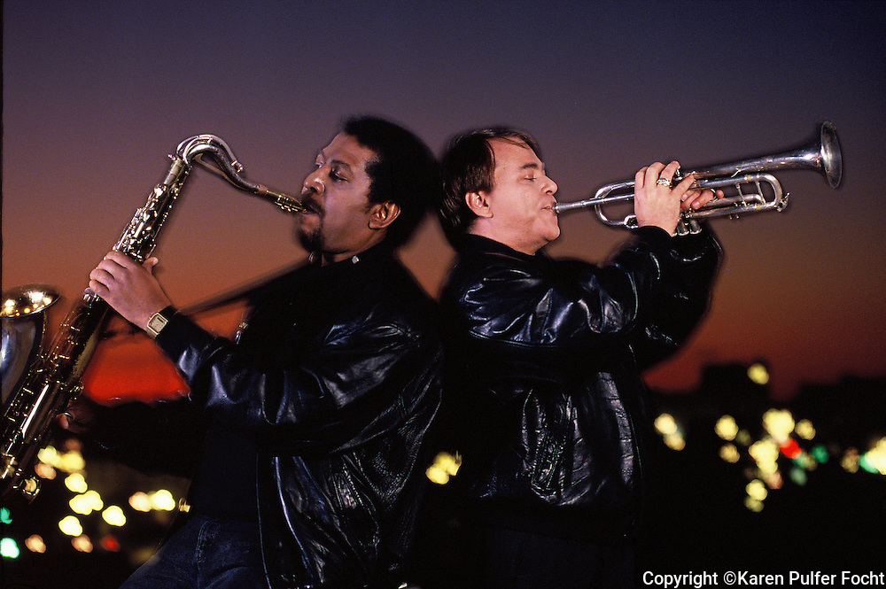 March 1992-  The Memphis Horns celebrated 25 years together in 1992 with a concert in the Pyramid which was attended by many of the artists they had played with. Trumpeter Wayne Jackson (rt) and his musical partner, saxophonist Andrew Love, make up one of the most sought after horn sections in the world. (Karen Pulfer Focht/ The Commercial Appeal)