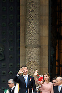 King Philip VI of Spain and Queen Letizia of Spain visit the Cathedral of Santiago de Compostela in Galicia Official Day on July 25, 2014 in Santiago de Compostela, Galicia