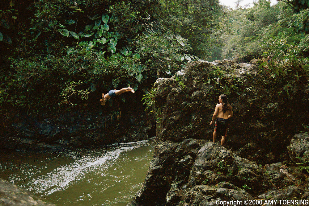 EL YUNQUE, PR - AUGUST 20: University of Puerto Rico students dive into a river August 20, 2001 in El Yunque rain forest outside San Juan, Puerto Rico. The Caribbean National Forest makes up 28,000 acres in the the rugged Sierra de Luquillo. The forest contains rare wildlife including the Puerto Rican Parrot which is one of the 10 most endangered species of birds in the world. Puerto Rico was an outpost of Spanish colonialism for 400 years, until the United States took possession in 1898. Today Puerto Rico's Spanish-speaking culture reflects its history - a mix of African slaves, Spanish settlers, and Taino Indians. Puerto Ricans fight in the U.S. armed forces but are not entitled to vote in presidential elections. They passionately debate their relationship with the U.S. with about half the island wanting to become the 51st state and the other half wanting to remain a U.S. commonwealth. A small percentage feel the island should be an independent country. While locals grapple with the evils of a burgeoning drug trade and unchecked development, drumbeats still drive the rhythms of African-inspired bomba music. (Photo By Amy Toensing) _________________________________<br />