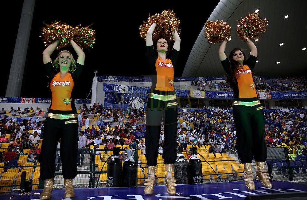 cheer Girls of Sunrisers Hyderabad during match 4 of the Pepsi Indian Premier League Season 7 between the Sunrisers Hyderabad and the Rajasthan Royals held at the Al Zayed Cricket Stadium, Abu Dhabi, United Arab Emirates on the 18th April 2014<br /> <br /> Photo by Sandeep Shetty / IPL / SPORTZPICS