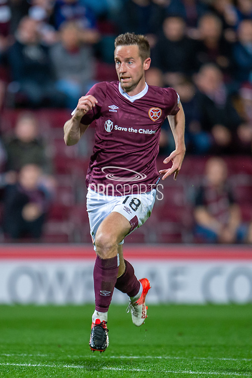 Steven MacLean (#18) of Heart of Midlothian FC during the Betfred Scottish Football League Cup quarter final match between Heart of Midlothian FC and Aberdeen FC at Tynecastle Stadium, Edinburgh, Scotland on 25 September 2019.