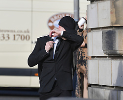 Pictured: Thomas Haining arriving at Court.<br /> <br /> The trial of Thomas Haining (20) from Grantown on Spey, who is accused of murdering his three-week-old daughter Mikayla Haining by striking her on the head and body at her home in Inverness, has begun at the High Court in Edinburgh.<br /> <br /> © Dave Johnston / EEm