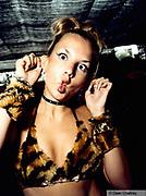 Girl in leopard print bikini pulling a face Space, Ibiza 1998
