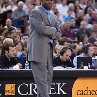 11 april 2008: Nate McMillan, head coach of the Portland Trail Blazers is seen during the Sacramento Kings 103-86 victory over the Portland Trail Blazers, at the Arco Arena, in Sacramento, California, USA.