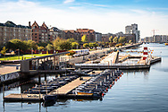 A view of the outdoor swimming area (havnebad) and GoBoat operator at Islands Brygge in Copenhagen © Travel Photographer in Copenhagen Matthew James