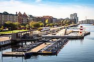 A view of the outdoor swimming area (havnebad) and GoBoat operator at Islands Brygge in Copenhagen © Travel Photographer in Copenhagen Matthew James