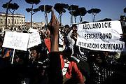 Roma 12/04/2013 Manifestazione di protesta a Piazza Venezia organizzata dalle associazioni di immigrati che raccolgono ospiti ed ex ospiti dei centri per minori stranieri non accompagnati<br /> Photo Matteo Ciambelli / OneShot