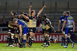 Montpellier players celebrate at the final whistle - Mandatory byline: Patrick Khachfe/JMP - 07966 386802 - 08/04/2016 - RUGBY UNION - AJ Bell Stadium - Manchester, England - Sale Sharks v Montpellier - European Rugby Challenge Cup Quarter Final.