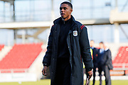 Rio Adebisi arrives for the EFL Sky Bet League 2 match between Northampton Town and Crewe Alexandra at the PTS Academy Stadium, Northampton, England on 16 November 2019.