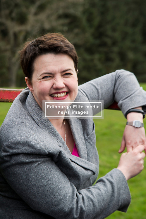Pictured: Ruth Davidson<br /> <br /> The Scottish Conservative leader Ruth Davidson visited the Bufallo Farm in Fife today where she toured the facility and met  staff and the animals. She even took a ride on the friendly bullock, 007.<br /> <br /> Ger Harley | EEm 20 April 2016
