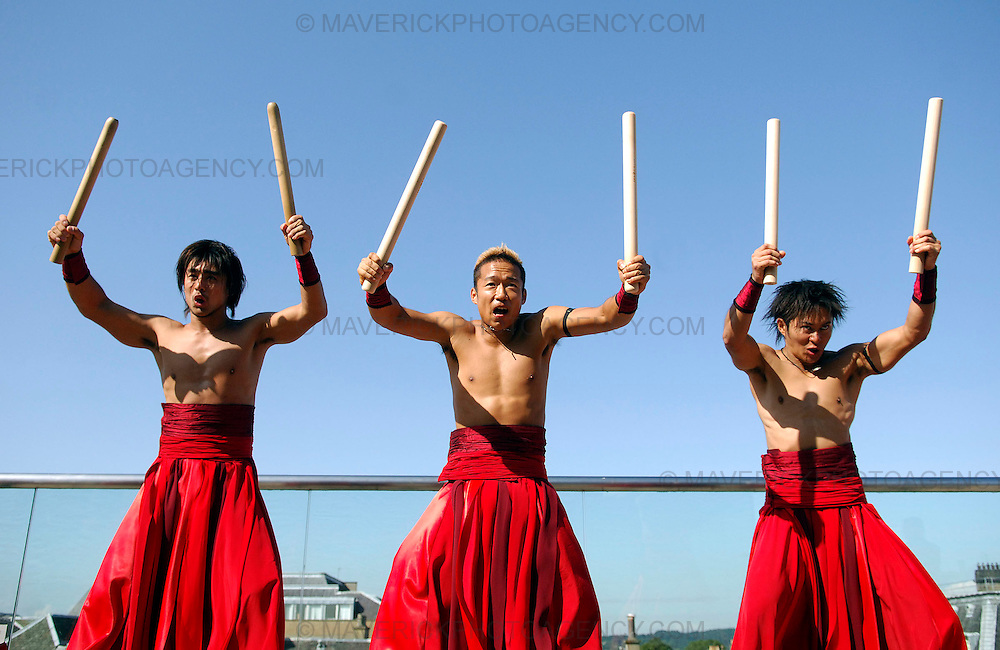 The Tao Samurai Magical Drummers rehearse for their show on the rooftop terrace of Oloroso restaurant in Edinburgh.