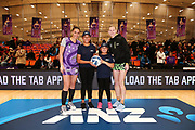 ANZ Future Captains Lata Holi aged 11 and Ilaisaane Holi aged 8 pose for a photo with Grace Kara of the Stars and Katrina Grant of the Pulse prior to the match. 2018 ANZ Premiership netball match, Stars v Pulse at Pulman Arena, Auckland, New Zealand. 23 July 2018 © Copyright Photo: Anthony Au-Yeung / www.photosport.nz