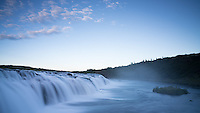 Faxi waterfall at dawn, pre-sunrise. South Iceland.