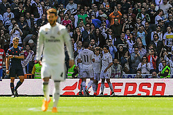 05.04.2015, Estadio Santiago Bernabeu, Madrid, ESP, Primera Division, Real Madrid vs FC Granada, 29. Runde, im Bild Real Madrid&acute;s players celebrates a goal // during the Spanish Primera Division 29th round match between Real Madrid CF and Granada FC at the Estadio Santiago Bernabeu in Madrid, Spain on 2015/04/05. EXPA Pictures &copy; 2015, PhotoCredit: EXPA/ Alterphotos/ Luis Fernandez<br /> <br /> *****ATTENTION - OUT of ESP, SUI*****