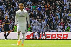 05.04.2015, Estadio Santiago Bernabeu, Madrid, ESP, Primera Division, Real Madrid vs FC Granada, 29. Runde, im Bild Real Madrid´s players celebrates a goal // during the Spanish Primera Division 29th round match between Real Madrid CF and Granada FC at the Estadio Santiago Bernabeu in Madrid, Spain on 2015/04/05. EXPA Pictures © 2015, PhotoCredit: EXPA/ Alterphotos/ Luis Fernandez<br /> <br /> *****ATTENTION - OUT of ESP, SUI*****