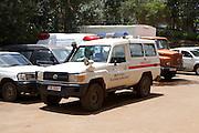 An ambulance parked outside Mulago Hospital, Uganda.