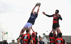 Westport's Eddie Dunning wins the lineout during the junior cup final against Monivea on sunday last.<br /> Pic Conor McKeown