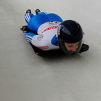 27 February 2007:  Olga Korobkina of Russia finishes her 3rd run at the Women's Skeleton World Championships competition on February 27 at the Olympic Sports Complex in Lake Placid, NY.
