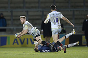 Saracens Schalk Burger tackled by Sale Shark's Mike Haley during the Aviva Premiership match between Sale Sharks and Saracens at the AJ Bell Stadium, Eccles, United Kingdom on 16 February 2018. Picture by George Franks.