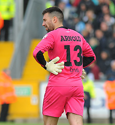Forest Green Rovers's Steve Arnold shows a dejected figure - Photo mandatory by-line: Nizaam Jones /JMP - Mobile: 07966 386802 - 03/05/2015 - SPORT - Football - Bristol - Memorial Stadium - Bristol Rovers v Forest Green Rovers - Vanarama Football Conference.