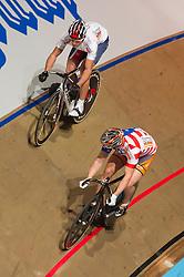 08-01-2012 WIELRENNEN: RABOBANK ZESDAAGSE: ROTTERDAM<br /> (Voor-Achter) Sprinters Andy Lakatosh USA, Mickael Bourgain FRA<br /> (c)2012-FotoHoogendoorn.nl / Peter Schalk