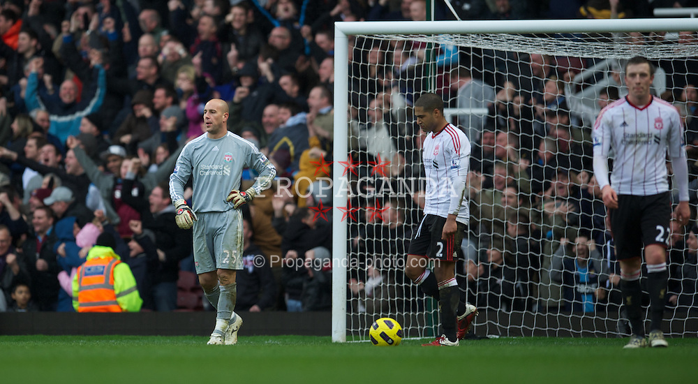 LONDON, ENGLAND - Sunday, February 27, 2011: Liverpool's goalkeeper Jose Reina looks dejected as he concedes the third goal against West Ham United during the Premiership match at Upton Park. (Photo by David Rawcliffe/Propaganda)