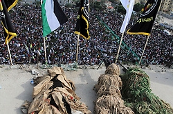 October 21, 2016 - Gaza, Gaza Strip, Palestinian Territory - Snipers of Palestinian Islamic Jihad militant take up positions on a roof during a rally marking the 29th anniversary of the movement foundation in Gaza City October 21, 2016  (Credit Image: © Abed Rahim Khatib/APA Images via ZUMA Wire)