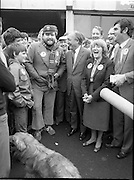 15/05/1982<br /> 05/15/1982<br /> 15 May 1982<br /> An Taoiseach, Mr Charles Haughey, canvasing with Fianna Fail bye-election candidate Eileen Lemass in Dublin West. Image shows comedian Brendan Grace, Eileen Lemass and Taoiseach Charles Haughey enjoying themselves on the campaign trail as they canvas in Dublin West.
