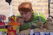 Uzbekistan, Khiva, Dekhon Bazaar.<br /> Sunflower seeds.