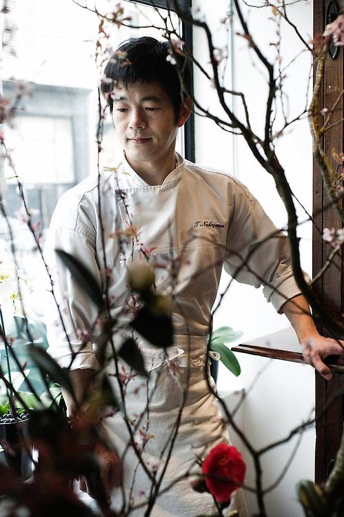 Toyomitsu Nakayama, the chef at Toyo Restaurant in Paris, France. 12 March 2010. Photo: Antoine Doyen