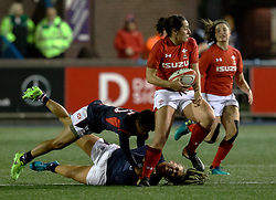 Alicia McComish of Wales Women evades the tackle of Stephanie CHAN of Hong Kong<br /> <br /> Photographer Simon King/Replay Images<br /> <br /> Friendly - Wales Women v Hong Kong Women - Friday  16th November 2018 - Cardiff Arms Park - Cardiff<br /> <br /> World Copyright © Replay Images . All rights reserved. info@replayimages.co.uk - http://replayimages.co.uk