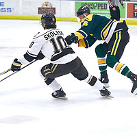 5th year forward, Zach McPhee (16) of the Regina Cougars during the Men's Hockey Home Game on Sat Jan 19 at Co-operators Center. Credit: Arthur Ward/Arthur Images