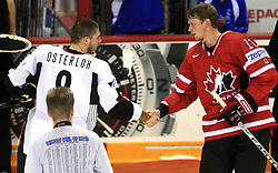 Sebastian Osterloh and Eric Staal best players of game at ice-hockey game Canada vs Germany in Qualifying Round Group F, at IIHF WC 2008 in Halifax,  on May 10, 2008 in Metro Center, Halifax, Nova Scotia,Canada. Canada won 11:1. (Photo by Vid Ponikvar / Sportal Images)