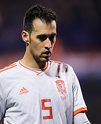 Sergio Busquets of Spain during the UEFA Nations League football match between Croatia and Spain, on November 15, 2018, at the Maksimir Stadium in Zagreb, Croatia. Photo by Morgan Kristan / Sportida