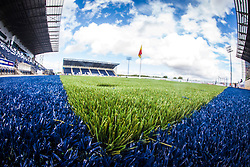 A landscape image taken with a fish-eye lens of the new plastic pitch at The Falkirk Stadium, with the new pitch work for the Scottish Championship game v Morton. The woven GreenFields MX synthetic turf and the surface has been specifically designed for football with 50mm tufts compared with the longer 65mm which has been used for mixed football and rugby uses.  It is fully FFA two star compliant and conforms to rules laid out by the SPL and SFL.<br /> &copy;Michael Schofield.