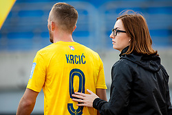 Alen Krcic of Bravo and Eva Globokar during football match between NK Bravo and NK Celje in 13th Round of Prva liga Telekom Slovenije 2019/20, on October 5, 2019 in ZAK stadium, Ljubljana, Slovenia. Photo by Vid Ponikvar / Sportida
