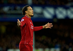 LIVERPOOL, ENGLAND - Sunday, March 3, 2019: Liverpool's Virgil van Dijk during the FA Premier League match between Everton FC and Liverpool FC, the 233rd Merseyside Derby, at Goodison Park. (Pic by Laura Malkin/Propaganda)