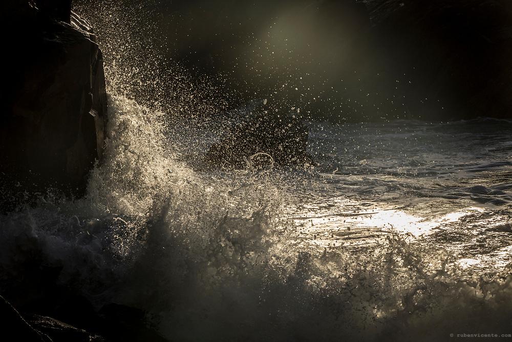 Crashing waves at Grota beach. Sintra Cascais Natural Park, Portugal