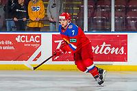 KELOWNA, BC - DECEMBER 18: Aleksandr Khovanov #7 of Team Russia warms up against the Team Sweden  at Prospera Place on December 18, 2018 in Kelowna, Canada. (Photo by Marissa Baecker/Getty Images)***Local Caption***