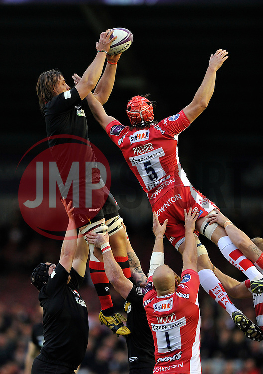 Ben Toolis of Edinburgh Rugby wins the ball at a lineout - Photo mandatory by-line: Patrick Khachfe/JMP - Mobile: 07966 386802 01/05/2015 - SPORT - RUGBY UNION - London - The Twickenham Stoop - Edinburgh Rugby v Gloucester Rugby - European Rugby Challenge Cup Final